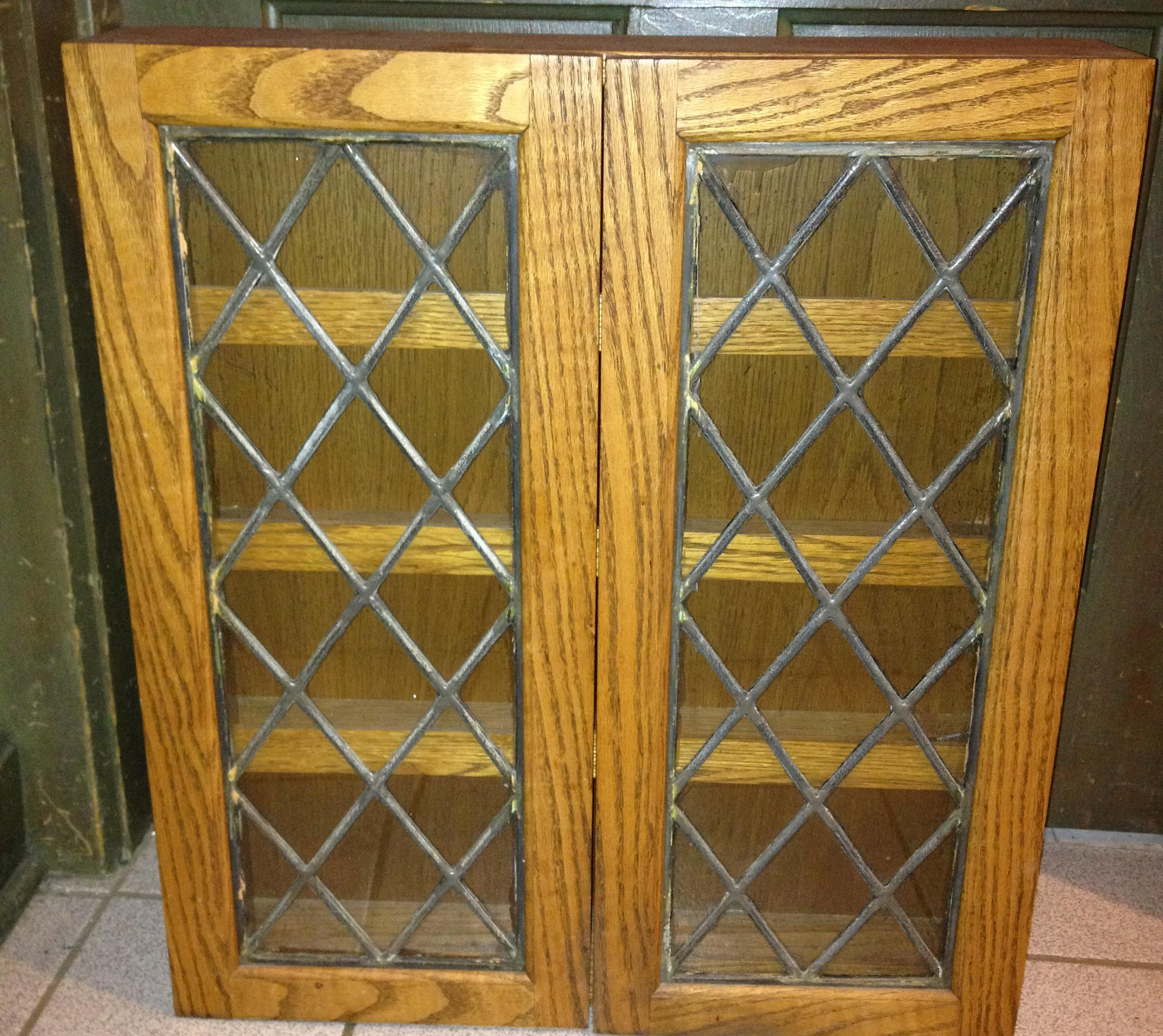 Wonderful Spice Cabinet With Lead Glass Doors